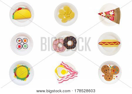 set of 9 plates with fast food. Taco, chips, pizza, sushi, donuts, hot dog, burger, toast, cookies made of colored paper on a disposable plate. isolated on white background. flat lay, top view