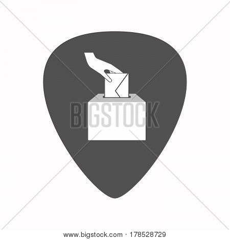 Isolated Guitar Plectrum With  A Hand Inserting An Envelope In A Ballot Box