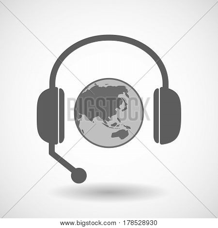 Isolated Hands Free Headphones With  An Asia Pacific World Globe Map