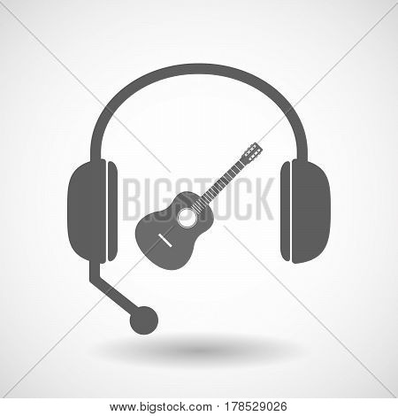 Isolated Hands Free Headphones With  A Six String Acoustic Guitar