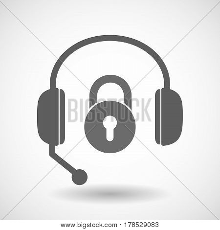 Isolated Hands Free Headphones With  A Closed Lock Pad