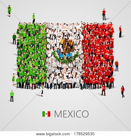 Large group of people in the shape of Mexican flag. United Mexican States. Mexico concept. Vector illustration