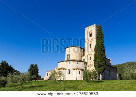 Sant'Antimo Abbey near Montalcino in Tuscany, Italy