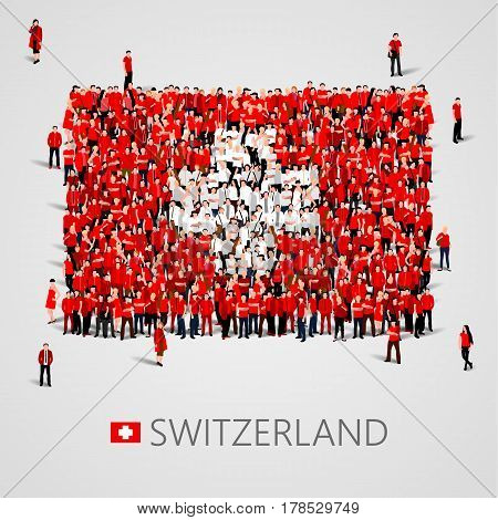 Large group of people in the shape of Swiss flag. Swiss Confederation. Switzerland concept. Vector illustration