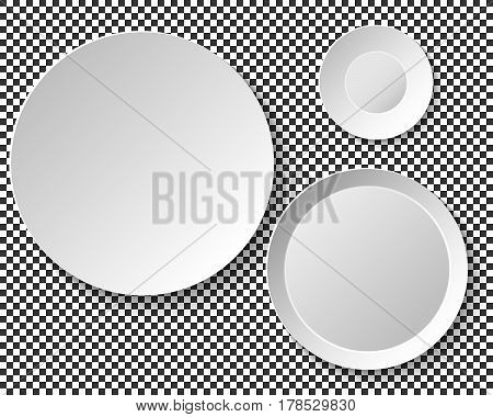 Set of empty white plates. Dish Wall template for decorative pattern. Vector illustration.