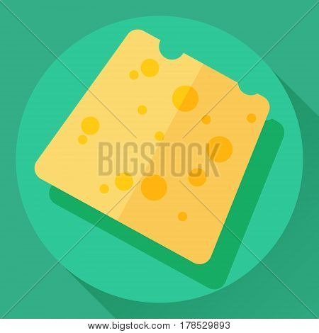 Vector cheese flat cartoon style icon. Yellow color hard cheese loaf with holes
