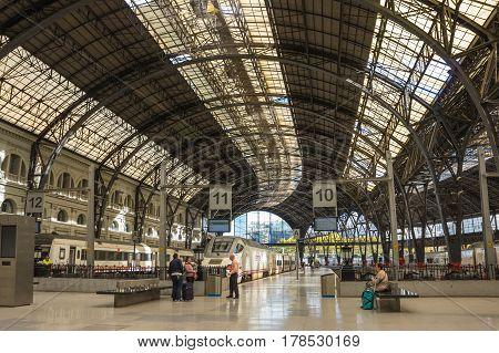 BARCELONA SPAIN - OCTOBER 22 2015: The elegant building of the station Estacio de Franca is a prime example of Spanish monumental architecture of the XX century and the most beautiful railway station in Barcelona Spain
