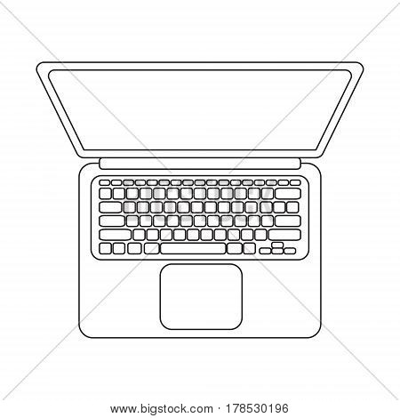 Vector laptop top view. Black and white lineart icon.