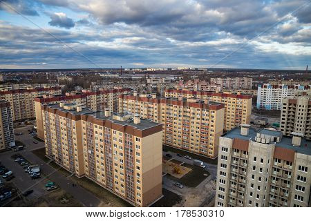 Day view from the roof to the modern sleeping area of Voronezh