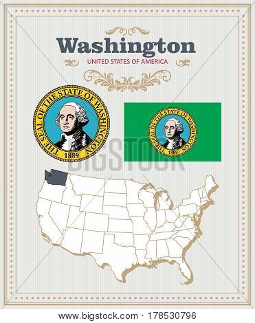 High detailed vector set with flag, coat of arms, map of Washington. American poster. Greeting card from United States of America. Colorful design