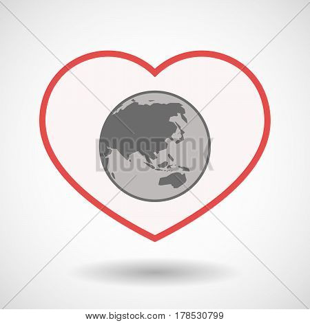 Isolated Line Art Heart With  An Asia Pacific World Globe Map