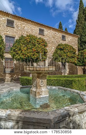 Fountain on the main square in Ubeda Spain