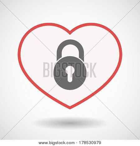 Isolated Line Art Heart With  A Closed Lock Pad