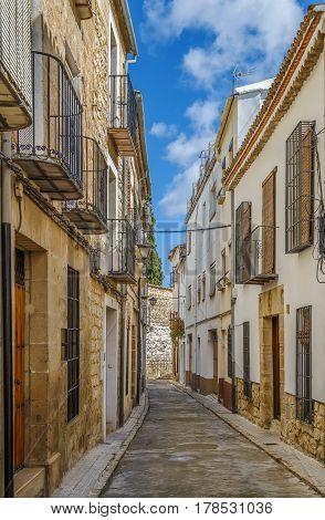Narrow street in historical center of Ubeda Spain