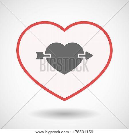Isolated Line Art Heart With  A Heart Pierced By An Arrow