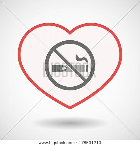 Isolated Line Art Heart With  An E-cigarette  In A Not Allowed Signal