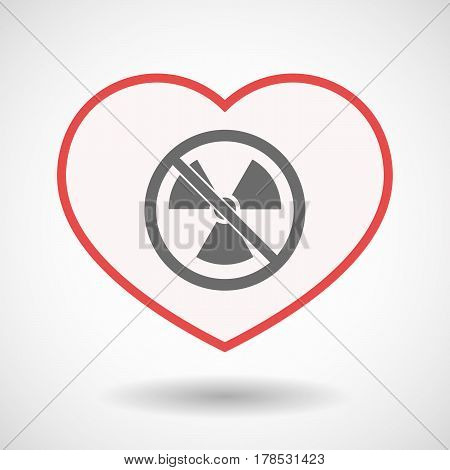 Isolated Line Art Heart With  A Radioactivity Sign  In A Not Allowed Signal