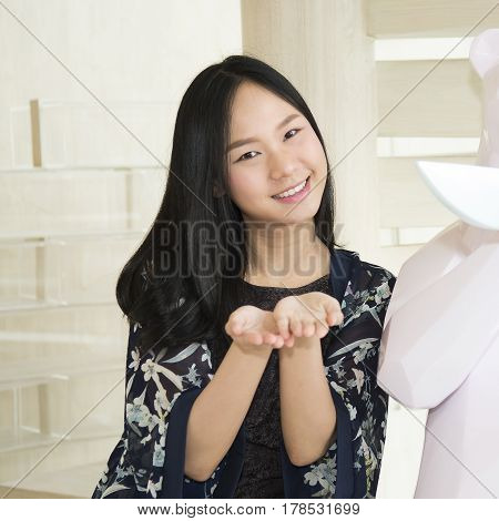 Asia Woman Opening Hands And Smiling ,emotion Happyiness