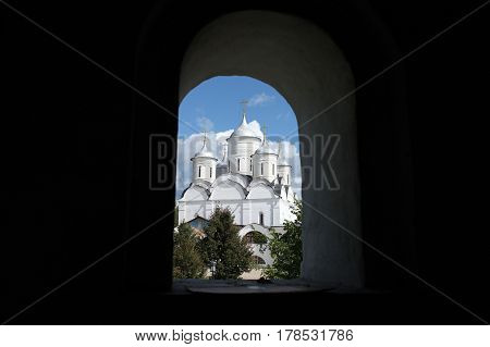 View of the white temple from window Spaso-Prilutsky Christianity monastery Vologda Russia