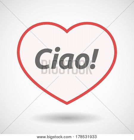 Isolated Line Art Heart With  The Text Hello! In The Italian Language