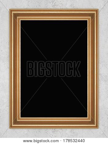 Gilded frame on concrete wall. 3D rendering