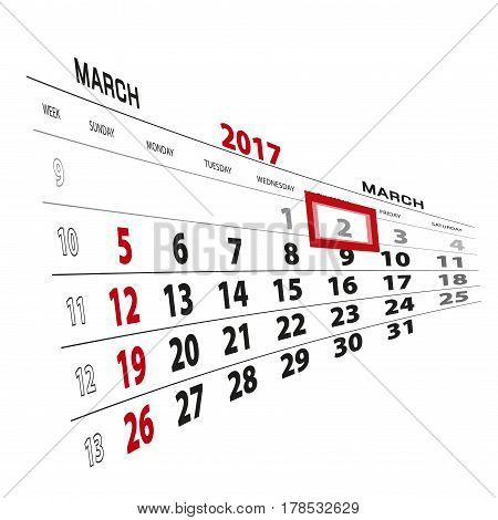 March 2, Highlighted On 2017 Calendar.