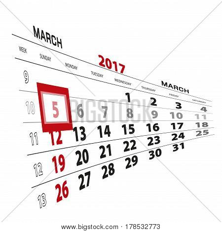 March 5, Highlighted On 2017 Calendar.