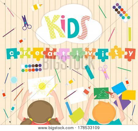 Kids Art-working process background. Kids creativity vector illustration. Top view with creative kids hands. Banner flyer for kids art lessons or school.