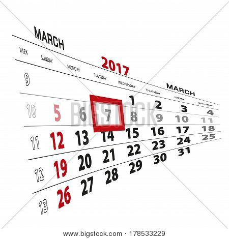 March 7, Highlighted On 2017 Calendar.