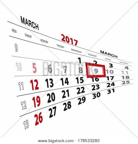 March 9, Highlighted On 2017 Calendar.