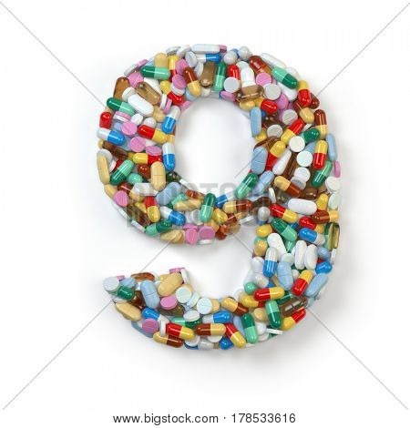 Number 9 nine. Set of alphabet of medicine pills, capsules, tablets and blisters isolated on white. 3d illustration