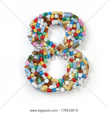Number 8 eight. Set of alphabet of medicine pills, capsules, tablets and blisters isolated on white. 3d illustration