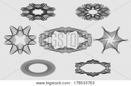 Set monochrome guilloche elements for design of protective signs diplomas coupons or certificates and so on. Vector illustration