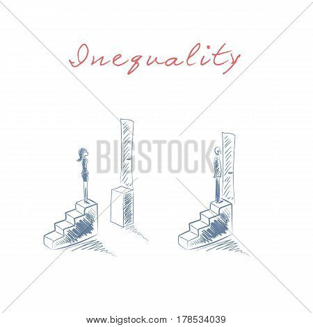 Gender issues in business concept with businessman and businesswoman standing on steps with different opportunities in career. Inequality concept in hand drawn vector sketch design. Eps10 illustration