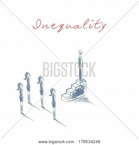 Business male manager or boss standing on higher position, woman on lower. Business career and opportunities inequality concept in hand drawn vector sketch design. Eps10 vector illustration.