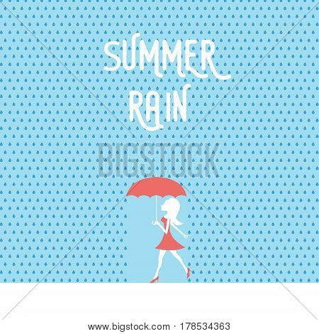 Beautiful sexy woman or girl in red dress, shoes and umbrella walking in summer rain with raindrops around. Seasonal holiday good mood poster template. Eps10 vector illustration.