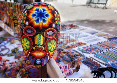 Handmade mexican mask in a local market