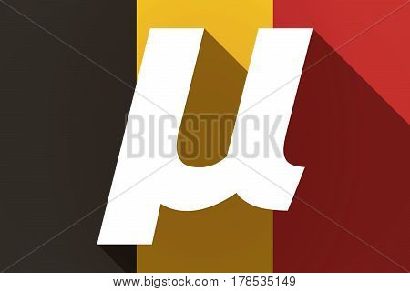 Long Shadow Germany Flag With  A Micro Sign, Mu Greek Letter