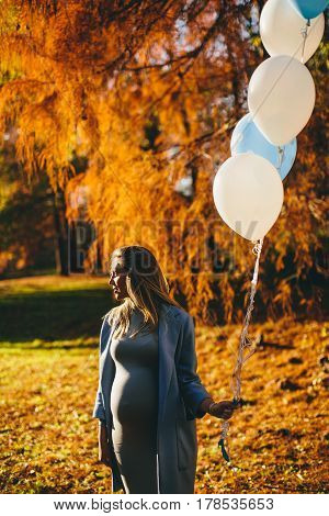 Young Pregnant Woman With Colorful Balloons In Autumn Forest