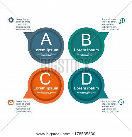 Business Infographic Circle In Flat Design. Layout For Your Options Or Steps