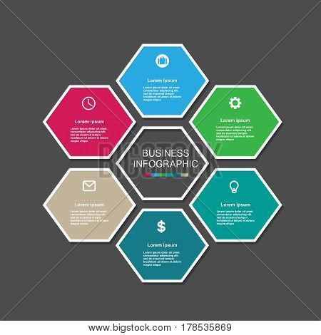 Business Infographic Hexagon In Flat Design. Layout For Your Options Or Steps