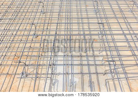 Steel Rebars for reinforced concrete to form a firm and leveled reinforcement cage in preparation for the pouring of concrete inside the form.
