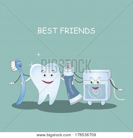 Best Friends teeth. Vector illustration. Illustration for children dentistry and orthodontics. Image toothbrush, tooth paste , dental floss and tooth
