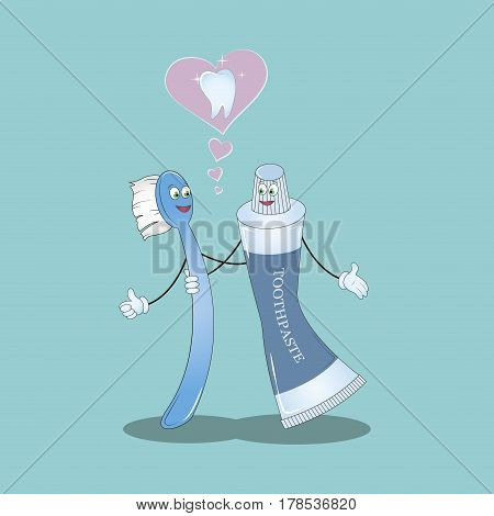 Best Friends teeth. Vector illustration. Illustration for children dentistry and orthodontics. Image toothbrush, tooth paste and tooth. Funny baby picture