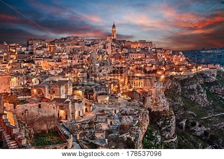Matera, Basilicata, Italy: view at night of the old town (sassi di Matera), European Capital of Culture 2019