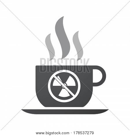 Isolated Coffee Mug With  A Radioactivity Sign  In A Not Allowed Signal