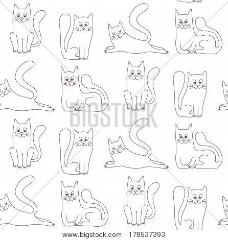 Cats peta animals doodle black and white line animals seamless vector pattern