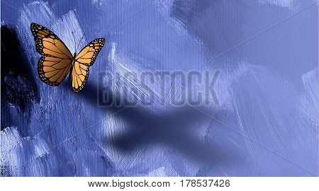 Graphic conceptual illustration of iconic butterfly casting a shadow of the Christian cross of Jesus against a painted textured background