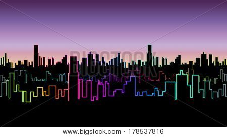 Seamless header of the city at night with versicolor neon color. Vivid glow of the contours of skyscrapers. Vector illustration.