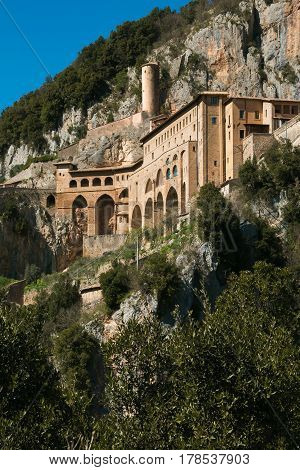 The historic monastery of Saint Benedict near Subiaco, Lazio, Italy